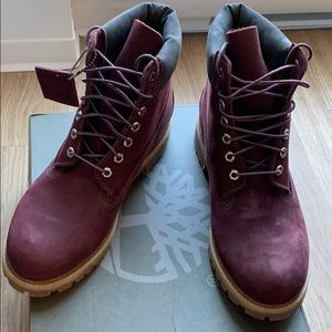 Timberland 6'' boots for men burgundy/red US 9.5